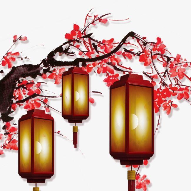 Chinese New Year Decorative Lanterns Hanging Bloom ...