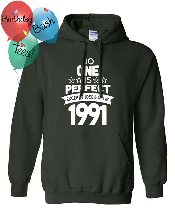 25 Year Old Birthday Hoodie No One is Perfect by BirthdayBashTees
