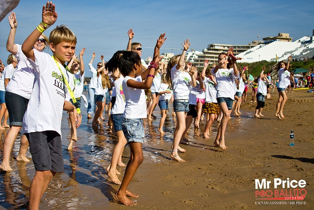 Mr Price Pro 2012 Beach Festival July 5. Flash Mob on the beach organised by the Sugardance Dancr Studio.