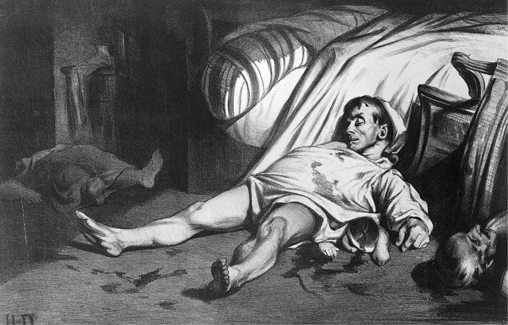 """REALISM~ Honore Daumier, Rue Transnonain, 1834, Lithograph, 1' X 1' 5 1/2"""". Philadelphia Museum of Art, Philadelphia (bequest of Fiske and Marie Kimball)."""