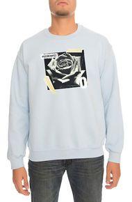 One Degree The Rose Crewneck Sweatshirt in Light Blue