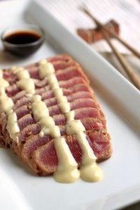 Seared Ahi Tuna with Wasabi Mayo.. One of my personal favorite foods. You can add a mixed greens salad with it.