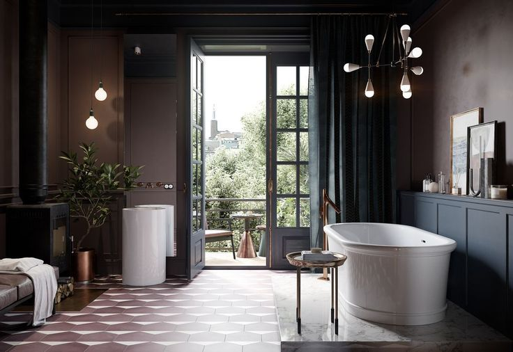 Eclectic bathroom with dark walls