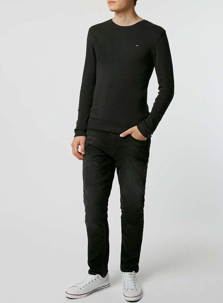 HILFIGER DENIM Black Rib T-Shirt