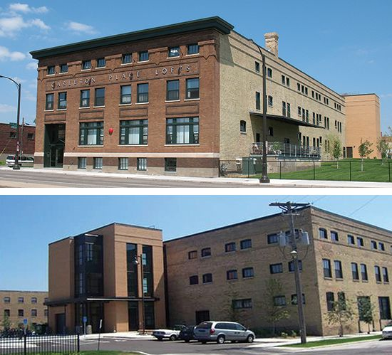 Brick Front Elevation Designs : Modern addition on more traditional warehouse building