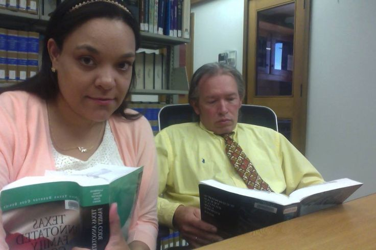 Claire and William Rembis studying law at the Texas Tech Law Library, preparing for their Adversary hearing. Image from Facebook.