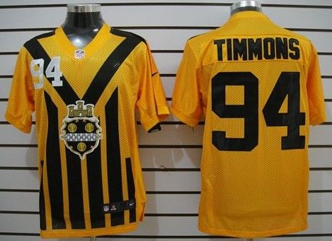 Men's Pittsburgh Steelers #94 Lawrence Timmons 1933 Yellow Throwback Jerseys