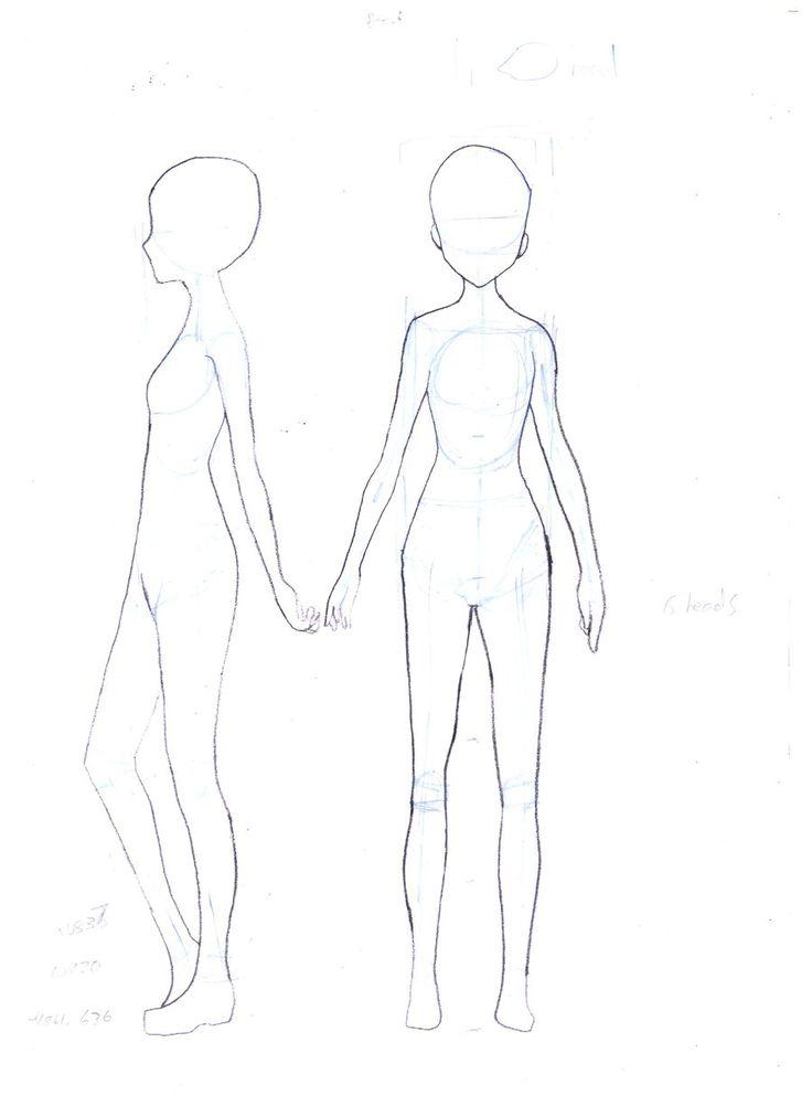 Boceto de un cuerpo delgado adolescente.