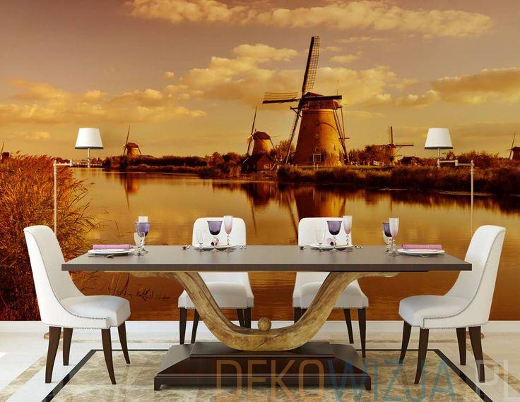 Fototapeta z Zachodem słońca nad rzeką w Kinderdijk