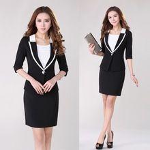 Nueva primavera verano 2015 Formal Blazer mujeres trajes de negocios con  falda y chaqueta Sets elegante