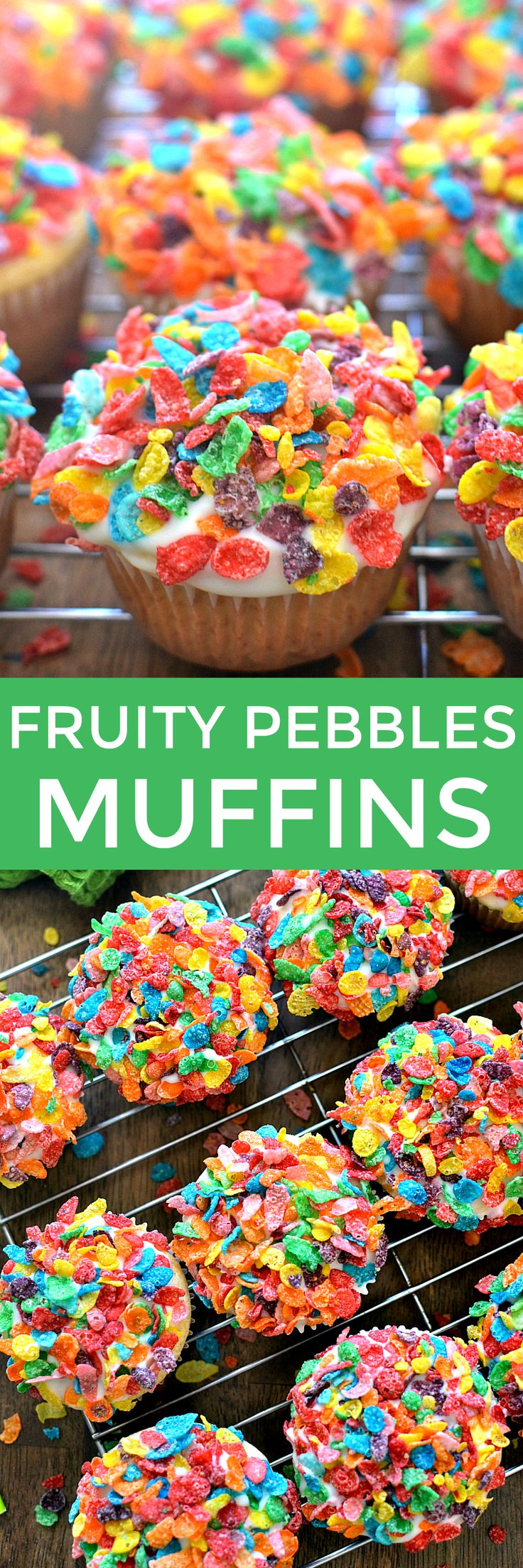 These Fruity Pebbles Muffins are the perfect St. Patrick's Day treat! Vanilla muffins topped with white chocolate and Fruity Pebbles...delicious for breakfast or any time of day! (Party Top Muffin Tins)