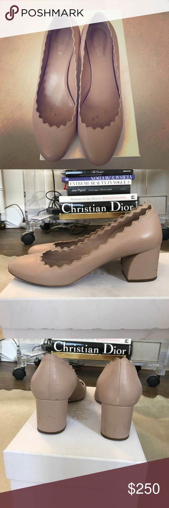 Chloe scalloped ballet pumps. Best-selling sweet pale pink/nude ballet pumps with signature scallop edge detail. 2 inch sculpted block heel. Super comfy and they disappear on the foot so pair well with absolutely everything! Amazing with well worn jeans, little black dress, or a mini skirt and a tan. They have scuffs and wear as pictured so please check photos carefully; however nothing a little TLC can't fix, and they are perfectly presentable to wear right away. Size 6.5 - very true to…