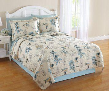 Bird And Branches Reversible Bedroom Quilt Blue Full/Queen $44.99