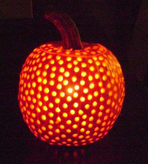 Pumpkin + Drill = So Cool... and don't forget to drill the top lid too!