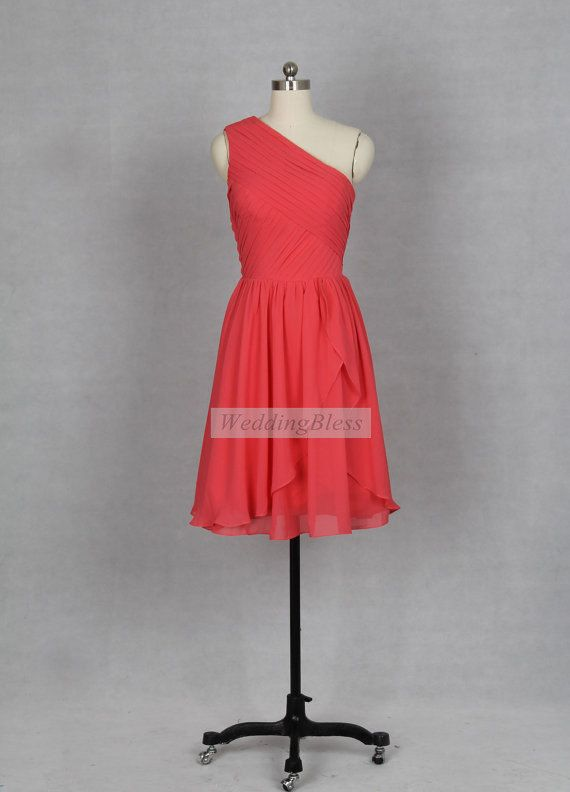 New Coral Bridesmaid Dress One Shoulder Knee By WeddingBless 8800 But In A Different Color