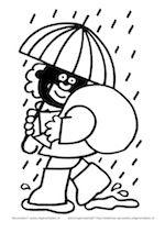 Zwarte Piet in de regen, onder een paraplu.