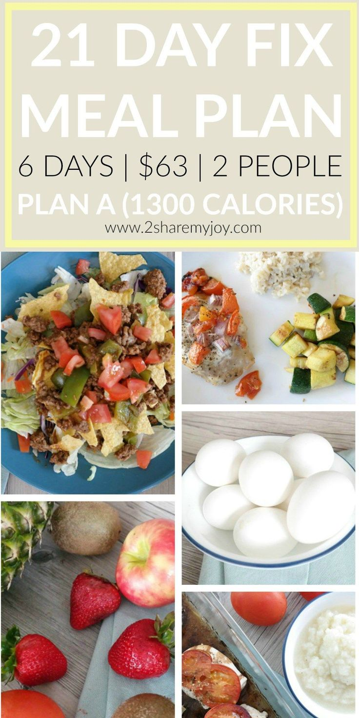 21 DAY FIX MEAL PLAN FOR 6 DAYS 1300 CALORIES AND 2 PEOPLE. GREAT WEIGHT LOSS EATING PLAN. THIS HELPED ME TO LOSE 4 LBS IN 10 DAYS!