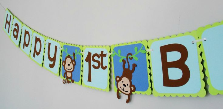 Monkey Birthday Banner/ 1st Birthday/ Monkey Party/ Jungle Party/ Safari/ Baby Shower by Klutterella on Etsy
