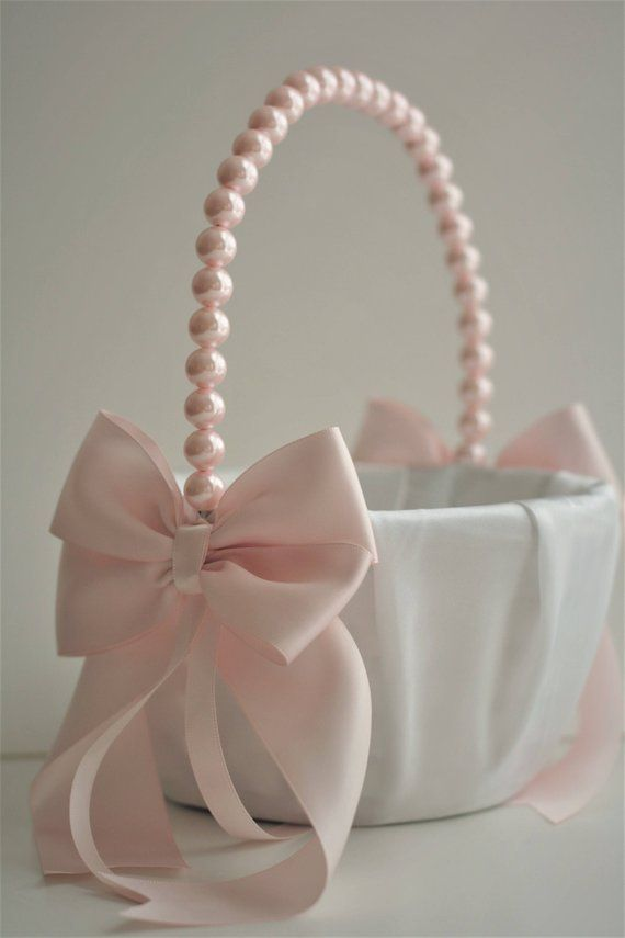 69d7fa8ea6 Pink Wedding Basket   Pink Flower Girl Basket   Blush pink