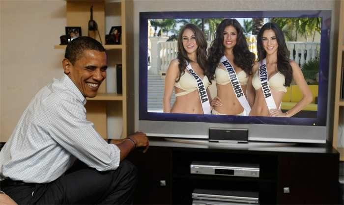 Ana Luisa Montufar Miss Universe Guatemala 2014, Yasmin Verheijen Miss Universe Netherlands 2014 and Karina Ramos Miss Universe Costa Rica 2014 watch live Obama