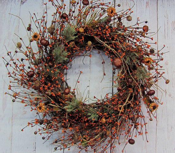 Automne rustique Wreath  pin citrouille & Berry par Designawreath, $66.95