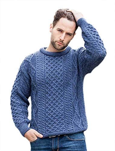 979522ef41ef27 100% Pure New Wool Irish Springweight Aran Sweater Denim X-Large ...