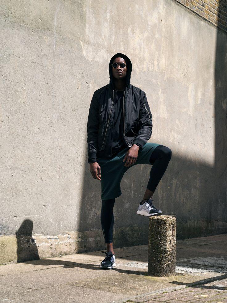 Men Urban/Active look.  #active #urban #fashion #men #bomberjacket