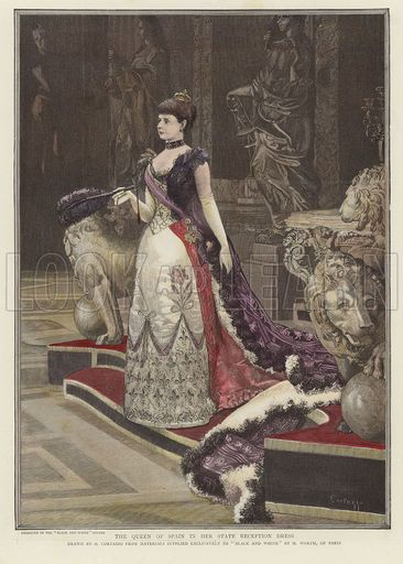 The Queen of Spain in her State Reception Dress. Drawn by O Cortzazzo from materials supplied exclusivley to 'Black and White' by M Worth of Paris. From Black and White, 8 August 1891. Hand coloured in the Victorian style.