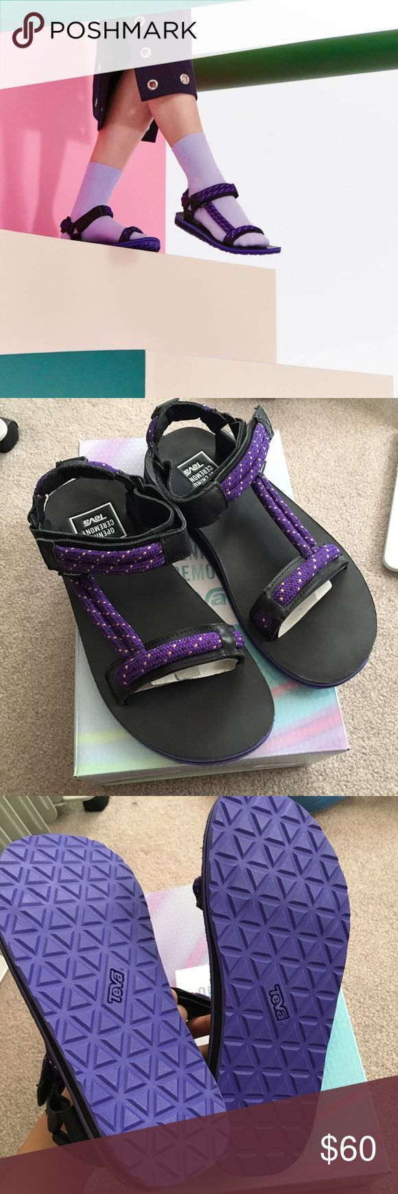 Opening Ceremony x Teva Purple Black Rope Sandal NWT- Opening Ceremony x Teva Collaboration. Purple Universal Rope Liberty. Size 6 USA / 38 EU. I'm a size 6.5 and it fits me perfectly. Just not by style Opening Ceremony Shoes Sandals