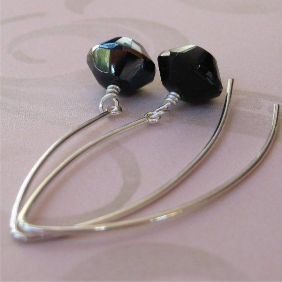 Earrings Black Czech glass and sterling silver by planettreasures