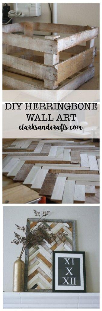 DIY HERRINGBONE WALL ART BY CLARKSANDCRAFTS.COM