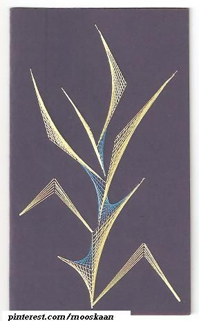 String Art on paper Abstract  Reeds, using silk floss. From a book...... (Series D-10)