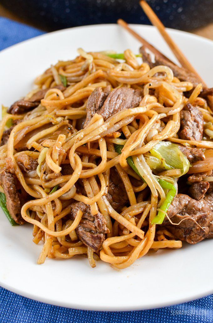 Low Syn Beef Chow Mein - a popular dish to order from the Chinese, made healthier. Perfect for your at home fakeaway.