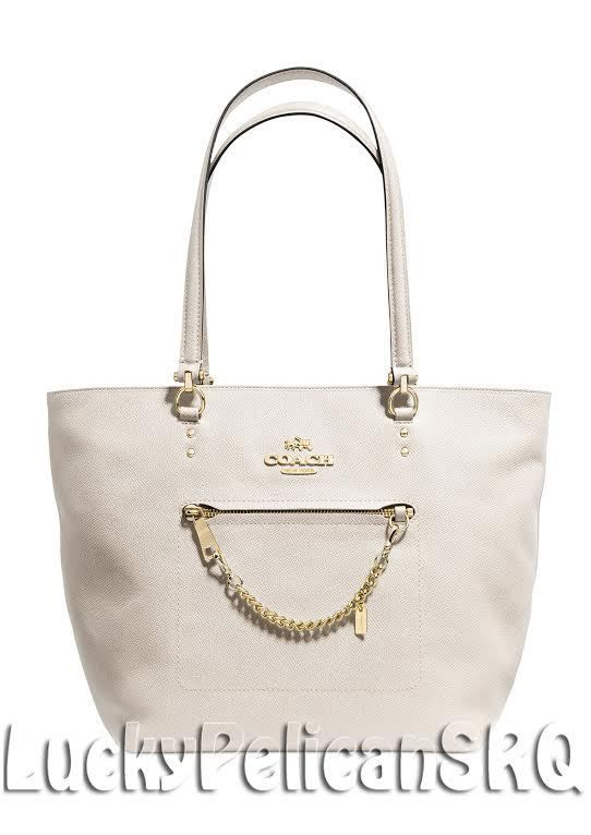 COACH 34817 TOWN car tote in crossgrain leather Light Gold/Chalk Beige NWT #Coach #TotesShoppers