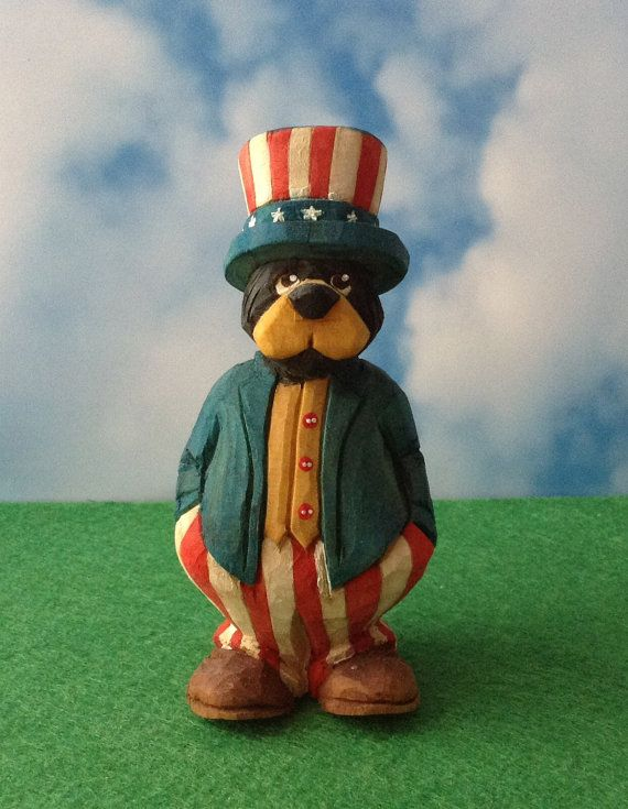 Patriotic Bear  Hand Carved Country Bear by TheWanderingWhittler