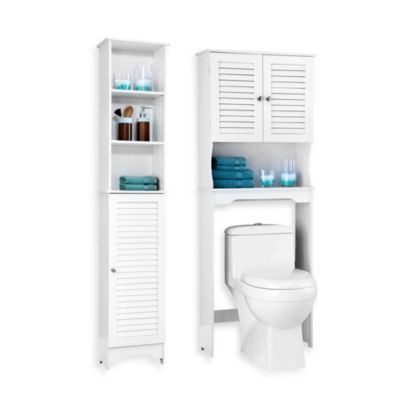 guest bath louvre bath furniture white bed bath beyond - Bathroom Cabinets Bed Bath And Beyond