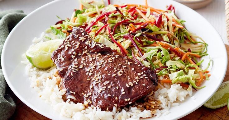 Serve these juicy teriyaki steaks with a crunchy brussels sprout slaw, steamed rice and fresh lime.