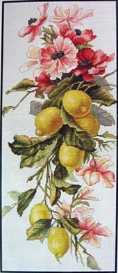 Cross stitch - flowers: Lemons and flowers (free pattern with chart)