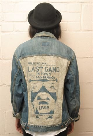 Vintage Levi denim jacket with Customised back   Denim Moods   Jackets,  Denim, Denim fashion 88b8321b07