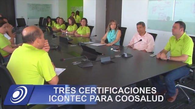 El Icontec hizo entrega a Coosalud EPS de las certificaciones en los tres Sistemas de Gestión de Calidad ISO 9001 (Gestión de Calidad), ISO 14001 (Gestión Ambiental) y OHSAS 18001 (Seguridad en Salud), lo cual la convierte en la primera EPS en la Región Caribe Certificada con un sistema integrado de gestión HSEQ.