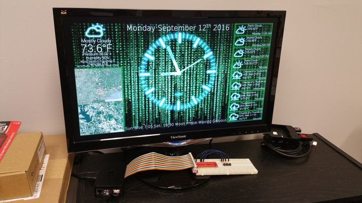 "The PiClock is a clock (duh), weather forcast, and radar map display based on the Raspberry Pi and a display monitor. The display monitor is assumed to be an HDMI monitor, but it will probably (possibly) work with the composite output as well, but this is not a design goal. The main program (Clock/PyQtPiClock.py) will also run on Windows, Mac, and Linux, as long as python 2.7+ and PyQt4 is installed.  The Weather data comes from Weather Underground using their API (<a href=""..."