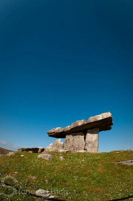 """County Clare -  Dolmen (Poll na mBrón), Burren, County Clare, Ireland - in Irish means """"hole of the quern stones"""" is a portal tomb dating back to the Neolithic period (4200 - 2900 B.C.)"""