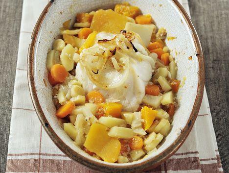 Lotte in de oven met knolgroenten, smaakmaker  Tine - recept: http://www.detafelvantine.be/bericht/vis-lotte-de-oven-met-knolgroenten