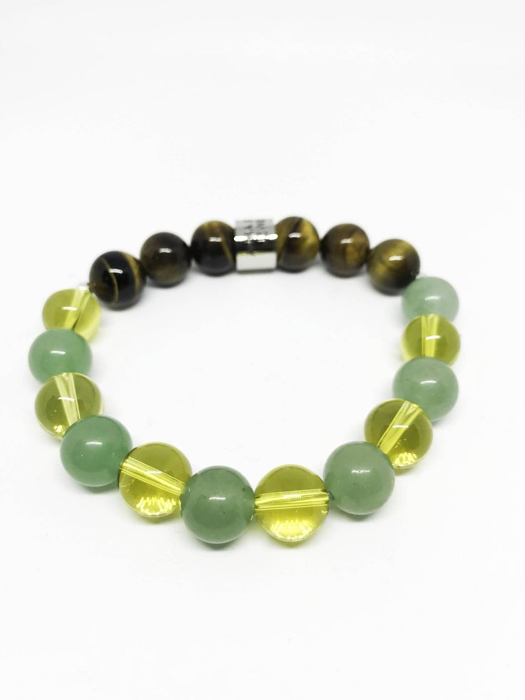 The Prosperity, Good Luck and Wealth Citrine, Aventurine and Tigers Eye Bracelet
