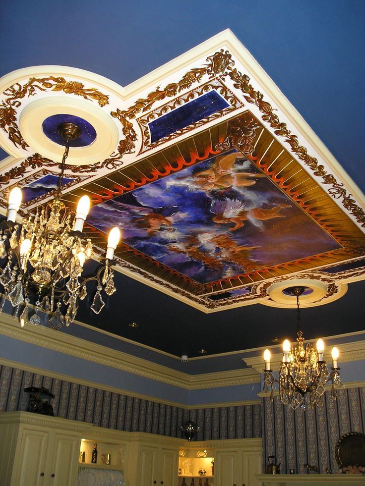 Ceiling mural with putti.