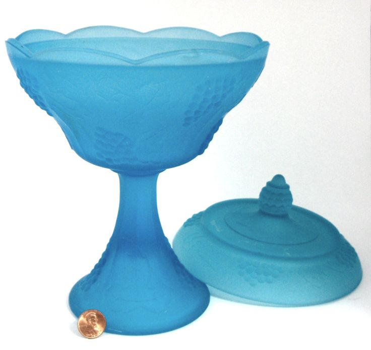 Blue Harvest Grape Satin Glass Compote And Lid Tall Candy Jar 1950s Grape Frost