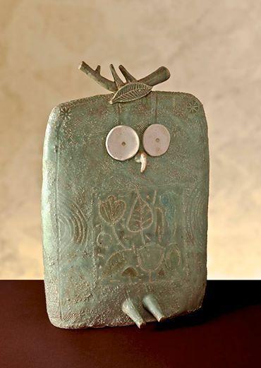 """Gufoverde"" by Riccardo Biavati / grés, ox.rame, cristallina mat a base di cenere / 2013"