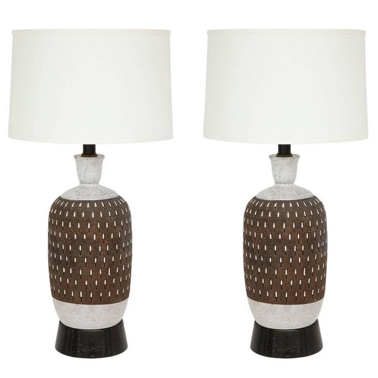 Bitossi Ceramic Table Lamps Pair Incised Brown White Signed, Italy, 1960s | 1stdibs.com