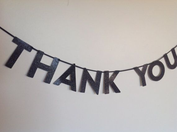 THANK YOU Glitter Mini Banner for party wedding by CreativePapier, $13.00