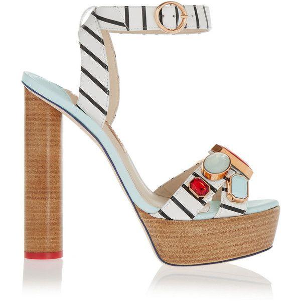 Sophia Webster Amanda embellished striped leather platform sandals,... (4.470 HRK) ❤ liked on Polyvore featuring shoes, sandals, blue, sophia webster, platform shoes, sophia webster shoes, nautical shoes and striped shoes